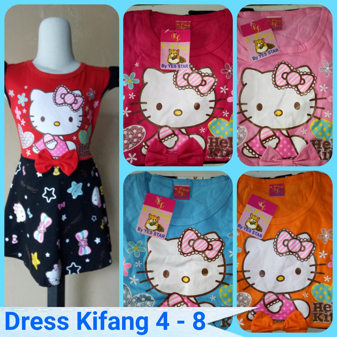Sentra Grosir Dress Kifang Size 4-8 Anak Karakter Hello Kitty Murah